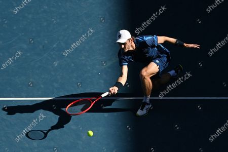 Wesley Koolhof of the Netherlands in action during his second Round Men's doubles match with Lukasz Kubot of Poland against Thanasi Kokkinakis and Nick Kyrgios of Australia on Day 7 of the Australian Open at Melbourne Park in Melbourne, Australia, 14 February 2021.