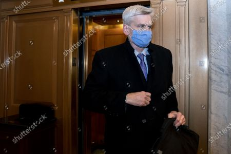Senator Bill Cassidy, a Republican from Louisiana departs the U.S. Capitol in Washington, DC on Saturday, February 13, 2021 after Donald Trump's second impeachment trial ended in a not guilty verdict. The Senate voted Trump guilty 57-43, short of the 2/3 majority needed for conviction.
