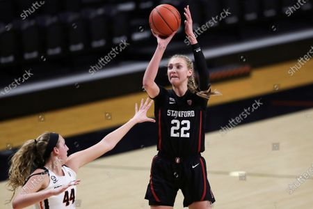 Stanford's Cameron Brink (22) shoots over Oregon State's Taylor Jones (44) during the second half of an NCAA college basketball game in Corvallis, Ore