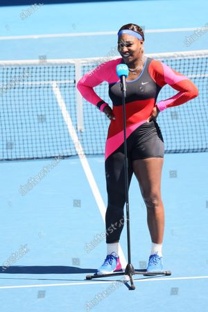 10th seed Serena WILLIAMS of the USA celebrates after defeating 7th seed Aryna SABALENKA of Belarus in a 4th round match on day 7 of the Australian Open on Rod Laver Arena, in Melbourne, Australia