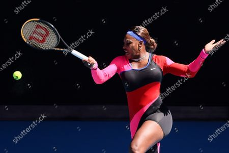 Stock Image of 10th seed Serena WILLIAMS of the USA in action against 7th seed Aryna SABALENKA of Belarus in a 4th round match on day 7 of the Australian Open on Rod Laver Arena, in Melbourne, Australia