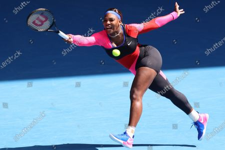 Stock Picture of 10th seed Serena WILLIAMS of the USA in action against 7th seed Aryna SABALENKA of Belarus in a 4th round match on day 7 of the Australian Open on Rod Laver Arena, in Melbourne, Australia
