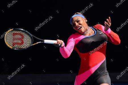 10th seed Serena WILLIAMS of the USA in action against 7th seed Aryna SABALENKA of Belarus in a 4th round match on day 7 of the Australian Open on Rod Laver Arena, in Melbourne, Australia