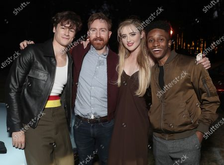 """Stock Image of Kyle Allen, Director Ian Samuels, Kathryn Newton and Jermaine Harris attend Amazon Studios """"The Map of Tiny Perfect Things"""" Drive In Screening on Saturday, Feb 13 at Calamigos Ranch."""