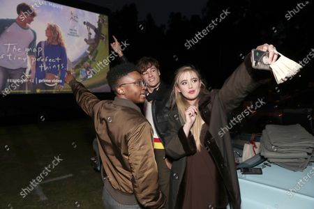 """Jermaine Harris, Kyle Allen and Kathryn Newton attend Amazon Studios """"The Map of Tiny Perfect Things"""" Drive In Screening on Saturday, Feb 13 at Calamigos Ranch."""