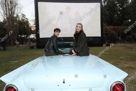 """Kyle Allen and Kathryn Newton attend Amazon Studios """"The Map of Tiny Perfect Things"""" Drive In Screening on Saturday, Feb 13 at Calamigos Ranch."""