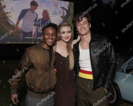 """Jermaine Harris, Kathryn Newton and Kyle Allen attend Amazon Studios """"The Map of Tiny Perfect Things"""" Drive In Screening on Saturday, Feb 13 at Calamigos Ranch."""