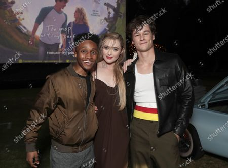 """Stock Photo of Jermaine Harris, Kathryn Newton and Kyle Allen attend Amazon Studios """"The Map of Tiny Perfect Things"""" Drive In Screening on Saturday, Feb 13 at Calamigos Ranch."""