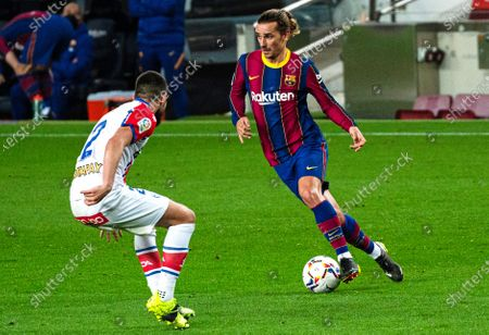 Antoine Griezmann and Alberto Rodriguez during the match between FC Barcelona and CD Leganes, corresponding to the week 23 of the Liga Santander, played at the Camp Nou Stadium, on 12th February 2021, in Barcelona, Spain. (Photo by Urbanandsport/NurPhoto)