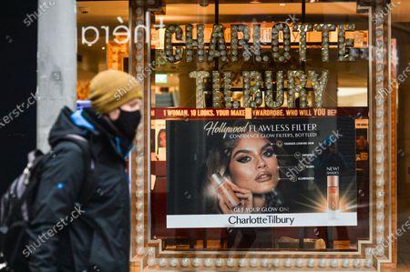 An ad in Charlotte Tilbury Beauty shop's window seen in Henry Street in Dublin city center, during Level 5 Covid-19 lockdown. On Saturday, February 13, 2021, in Dublin, Ireland. (Photo by Artur Widak/NurPhoto)