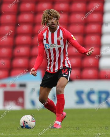 Dion Sanderson of Sunderland  during the Sky Bet League 1 match between Sunderland and Doncaster Rovers at the Stadium Of Light, Sunderland, England on 13th February 2021. (Photo by Mark Fletcher/MI News/NurPhoto)