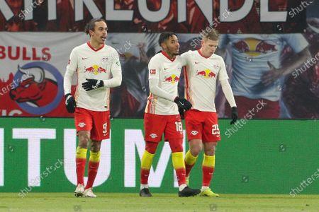 Yussuf Poulsen #9 (RB Leipzig), Christopher Nkunku #18 (RB Leipzig), Daniel Carvajal #25 (RB Leipzig) 2:0
