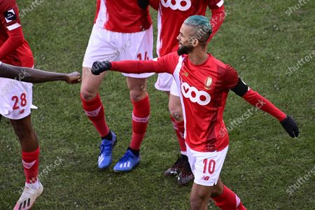 Standard's Mehdi Carcela celebrates after scoring during a soccer match between Standard Liege and Royal Antwerp FC, Sunday 14 February 2021 in Liege, on day 26 of the 'Jupiler Pro League' first division of the Belgian championship.