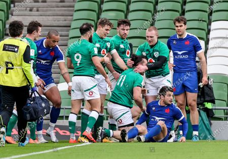 Ireland vs France. Ireland's James Lowe celebrates after scoring a try with Keith Earls that is later disallowed