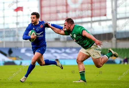 Ireland vs France. France's Brice Dulin is tackled by Ed Byrne of Ireland