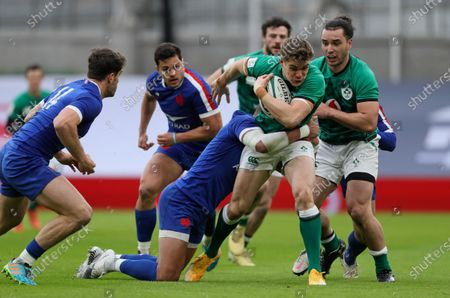 Ireland's Keith Earls is tackled by Gael Fickou of France during the Six Nations rugby union match between Ireland and France Aviva Stadium, Dublin