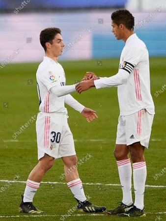 Stock Photo of Sergio Arribas of Real Madrid and Raphael Varane of Real Madrid