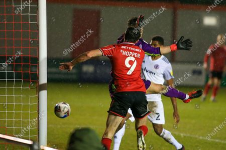 GOAL 2 - 1 Tom Hopper (9) of Lincoln City scores during the EFL Sky Bet League 1 match between Lincoln City and Accrington Stanley at Sincil Bank, Lincoln