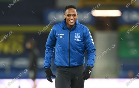 Everton's Yerry Mina smiles during warm up before the English Premier League soccer match between Everton and Fulham at Goodison Park in Liverpool, England