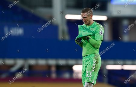 Everton's goalkeeper Robin Olsen reacts during the English Premier League soccer match between Everton and Fulham at Goodison Park in Liverpool, England