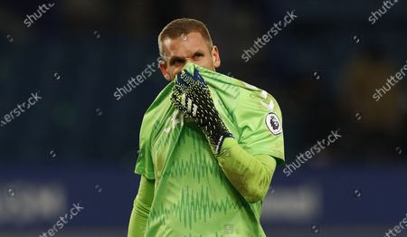Goalkeeper Robin Olsen of Everton reacts during the English Premier League soccer match between Everton FC and Fulham FC in Liverpool, Britain, 14 February 2021.