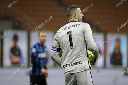 Inter Milan's goalkeeper Samir Handanovic wearing a special edition shirt featuring his name written in Mandarain to celebrate the Chinese New Year during a Serie A soccer match between Inter Milan and Lazio at the San Siro stadium in Milan, Italy
