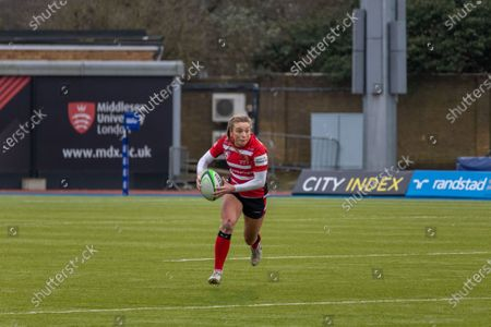 Kelly Smith (#14 Gloucester-Hartpury Women) carrying the ball