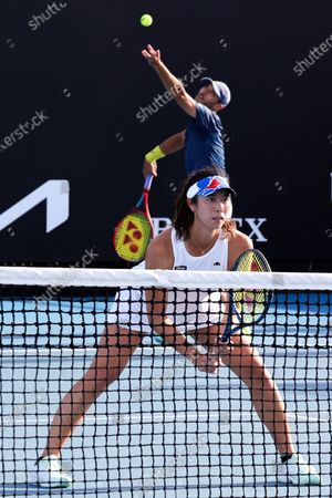 Ena SHIBAHARA and Ben MCLACHLAN of Japan in action in a round 2 mixed doubles match against Krejcikova and Ram on day 8 of the Australian Open on Rod Laver Arena, in Melbourne, Australia
