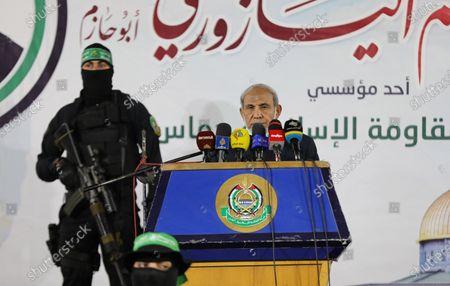 Senior Hamas leader Mahmoud al-Zahar, speaks during a memorial service for leader Ibrahim Al-Yazuri, who died of the coronavirus (COVID-19) pandemicin, Gaza City on February 14, 2021.