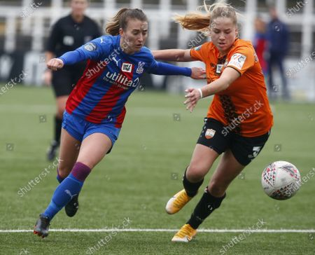 Stock Image of L-R Amber Stobbs of Crystal Palace Women takes on Mia Cruickshank of London Bees (on Loan from West Ham United) during FA Women's Championship between Crystal Palace Women and London Bees Women at Hayes Lane Stadium , Bromley, UK on 14th January 2021 (Photo by Action Foto Sport/NurPhoto)