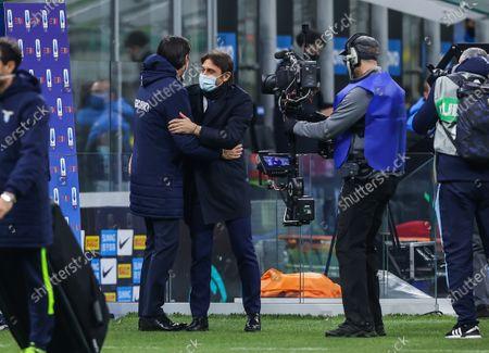 Head Coach of FC Internazionale Antonio Conte and Head Coach of SS Lazio Simone Inzaghi