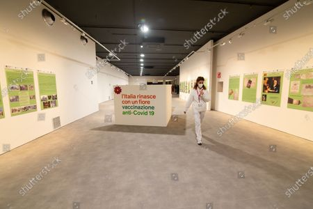 "View of the interior of the new area dedicated to vaccinations in the ""Ennio Morricone"" Auditorium in Rome"