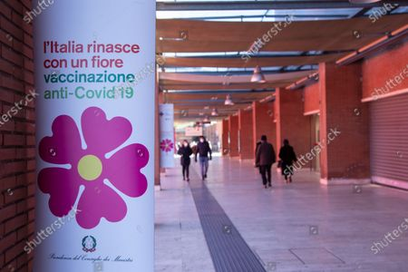 "View of the entrance to the new vaccination area at the ""Ennio Morricone"" Auditorium in Rome"