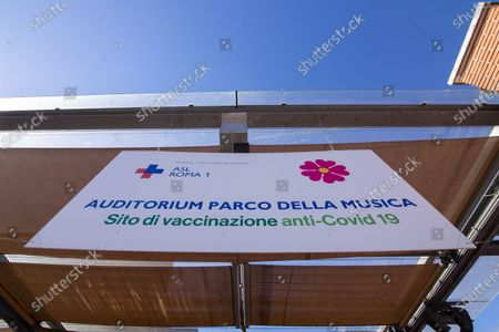 "View of entrance to the new vaccination area at the ""Ennio Morricone"" Auditorium in Rome"