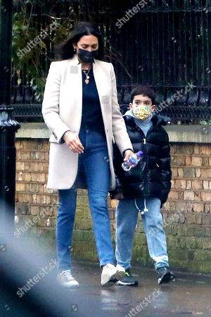 Stock Image of Exclusive - Lauren Silverman and son Eric Cowell in Notting Hill