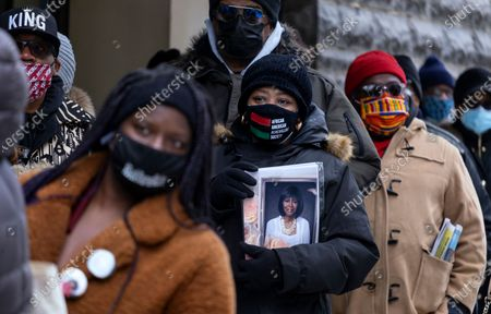 People wait on line to attend a public viewing for Cicely Tyson at the Abyssinian Baptist Church in the Harlem neighborhood of New York, . Tyson, the pioneering Black actress died on Jan. 28