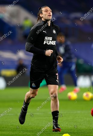 Newcastle's Andy Carroll warms up prior to the English Premier League soccer match between Chelsea and Newcastle United at Stamford Bridge Stadium in London, England