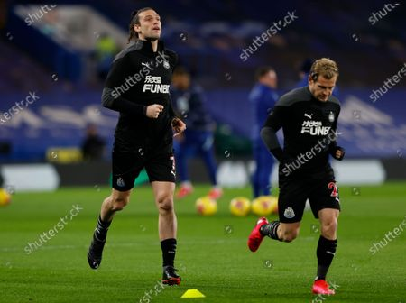 Newcastle's Andy Carroll (L) in action during the warm-up ahead of the English Premier League soccer match between Chelsea FC and Newcastle United in London, Britain, 15 February 2021.