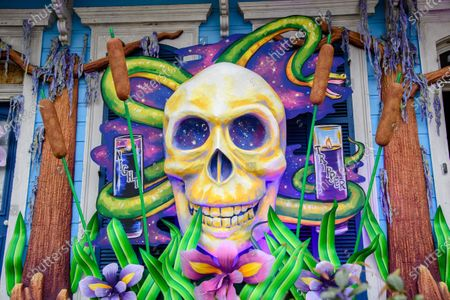 A house is decorated in a Dr. John theme during Mardi Gras weekend on February 14, 2021 in New Orleans, LA. In the absence of traditional carnival festivities, New Orleanians have decorated their homes and businesses as floats.