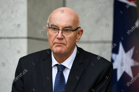 Australia's Therapeutic Goods Administration (TGA) head Professor John Skerritt speaks to the media during a press conference at Parliament House in Canberra, Australia, 16 February 2021. Australia's Prime Minister Scott Morrison welcomed the approval of the Oxford-AstraZeneca COVID-19 vaccine by the Therapeutic Goods Administration. The announcement comes one day after Australia received its first shipment of Pfizer-BioNTech vaccine against the coronavirus disease.