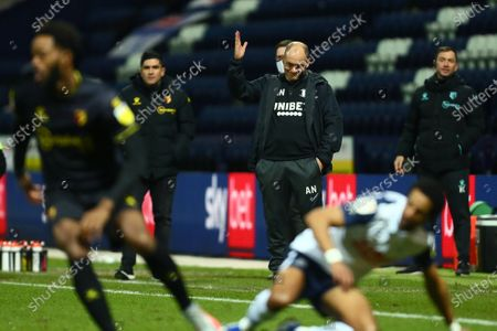 Stock Image of Alex Neil manager of Preston North End dejected