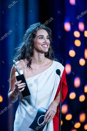 Actress Débora Nascimento receives the best actor award during the ceremony on the closure day of 67th San Sebastian International Film Festival on September 28, 2019 in San Sebastian, Spain. (Photo by Manuel Romano/NurPhoto)