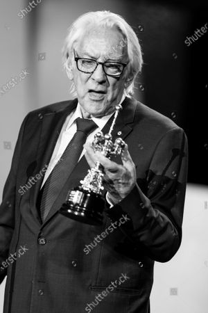 (EDITOR'S NOTE: Image was converted to black and white) American actor Donald Sutherland receives the Donostia award during 67th San Sebastian Film Festival on September 26, 2019 in San Sebastian, Spain. (Photo by Manuel Romano/NurPhoto)