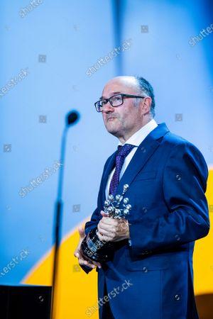 Director of San Sebastian Film Festival José Luis Rebordinos holds the Donostia award during 67th San Sebastian Film Festival on September 26, 2019 in San Sebastian, Spain. (Photo by Manuel Romano/NurPhoto)