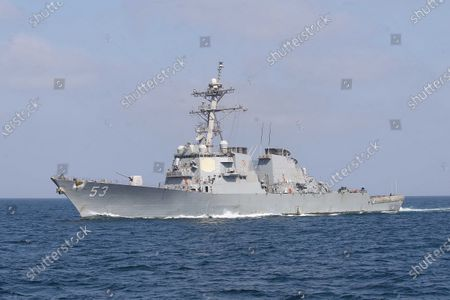 United States Naval Ship John Paul Jones participates in Aman exercis in the Arabian sea, in Pakistan, 15 February 2021 (issued 16 February 2021). Navies from 45 countries including the top 5 Navies are participating in the largest multinational maritime exercise 'Aman 21' in the North Arabian Sea.