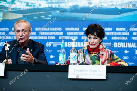 Udo Kier and Geraldine Chaplin attends the 'La Fiera Y La Fiesta' (Holy Beasts) Press Conference during the 69th Berlinale International Film Festival Berlin at Grand Hyatt Hotel on February 13, 2019 in Berlin, Germany.