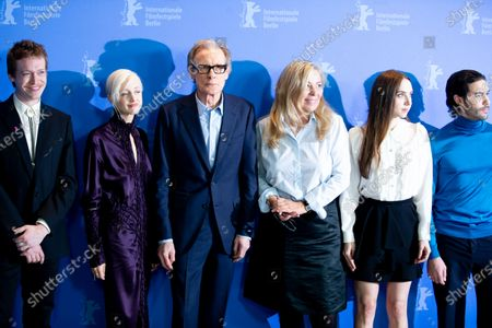 """(L-R) Caleb Landry Jones, Andrea Riseborough, Bill Nighy, Lone Scherfig, Zoe Kazan and Tahar Rahim attends the """"The Kindness Of Strangers"""" Photocall at the 69th Berlinale International Film Festival Berlin at Grand Hyatt Hotel on February 7, 2019, in Berlin, Germany. The Berlin film festival will be running from February 7 to 17, 2019. Nearly 400 movies from around the world will be presented, with 17 vying for the prestigious Golden Bear top prize."""