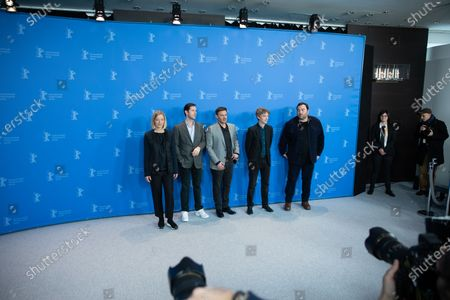 (L-R) Aurélia Petit, Melvil Poupaud, Francois Ozon, Swann Arlaud and Denis Menochet attends the 'By the Grace of God' (Grace a Dieu) photocall at the 69th Berlinale International Film Festival Berlin on February 8, 2019, in Berlin, Germany. The Berlin film festival will be running from February 7 to 17, 2019. Nearly 400 movies from around the world will be presented, with 17 vying for the prestigious Golden Bear top prize.