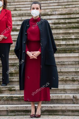 """Queen Letizia Rocasolano of Spain attends the """"Concepción Arenal. La Pasión Humanista 1820-1893"""" exhibition at the National Library."""