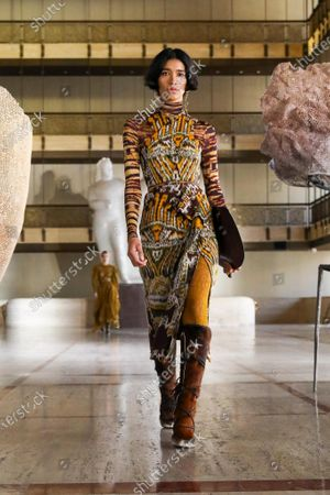 A Model wearing an outfit from the Womens Ready to wear, pret a porter, collections, winter 2021 2022, original creation, during the Womenswear Fashion Week in New York, from the house of Ulla Johnson